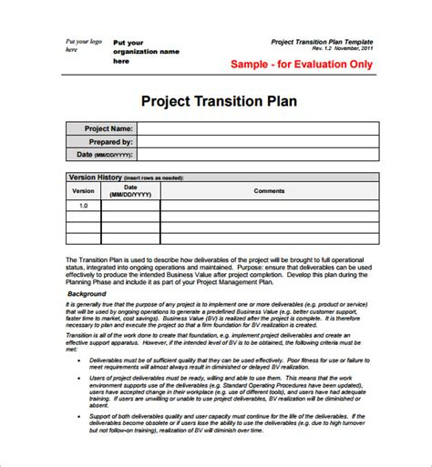 23 Project Plan Template Doc Excel Pdf Free Premium Templates Managed Services Transition Plan Template