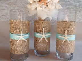 set of 3 starfish burlap vase centerpieces