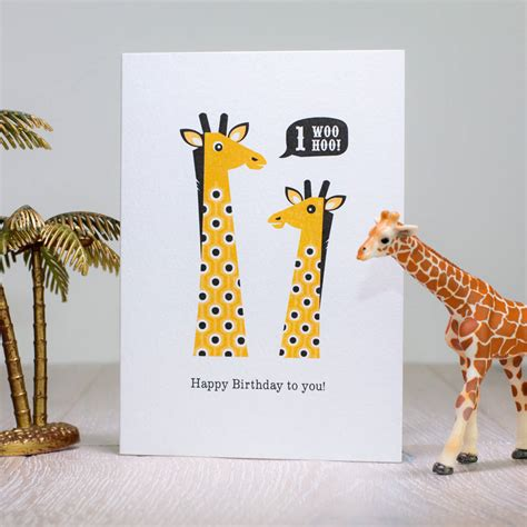 printable birthday cards giraffe giraffe first birthday card age one by laura danby