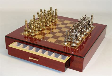 metal chess set florence metal chess set with inlaid wood chest