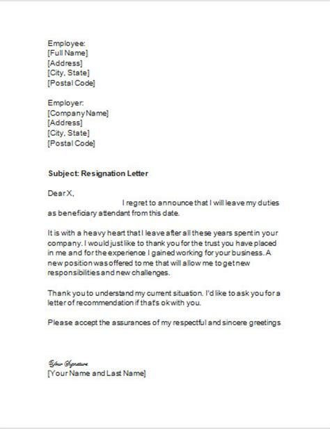 letter of resignation for beneficiary attendant
