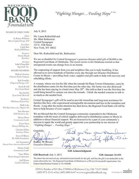 Thank You Letter For Flood Donation A Thank You From Oklahoma News Central Synagogue