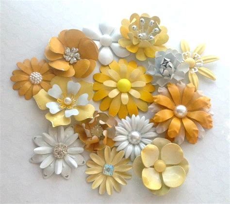 Handmade Metal - white and yellow enamel flower brooch lot 14 handmade