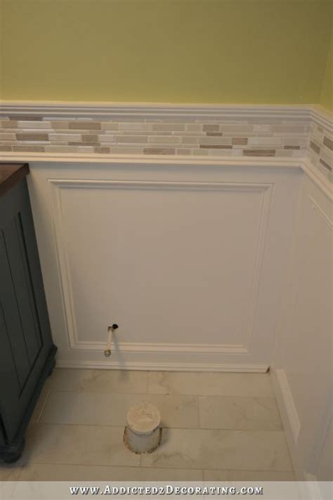 how high should wainscoting be in a bathroom finished recessed panel wainscoting judges paneling with