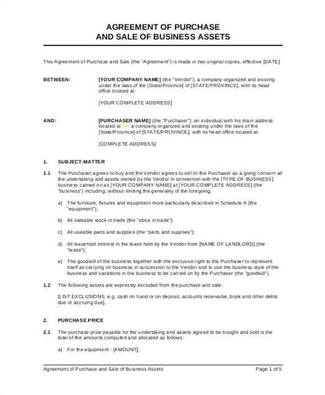 sale agreement template south africa agreement of purchase and sale of business assets template