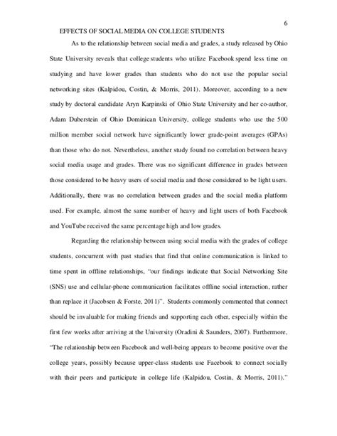 thesis about social media and academic performance the effects of social media on college students