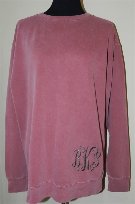 comfort colors sweatshirt monogrammed comfort colors crew neck sweatshirt long length