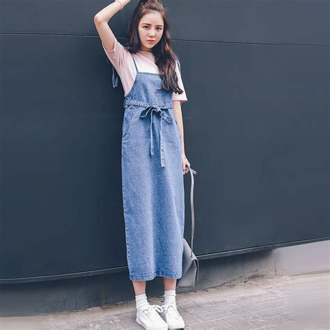 Overal Maxi Denim Dress Wanita Nando Overall back slit denim skirt overalls 2016 summer korean fashion casual high waist