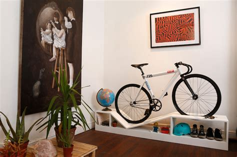 cyclist centric decor furniture with built in bike racks