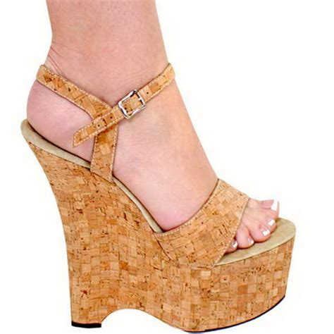 Faiths Calista Patent And Cork Wedges by Cork Wedge Heels