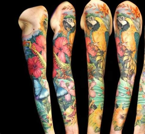 tropical tattoo sleeve tropical sleeve pastel flower tropical ideas