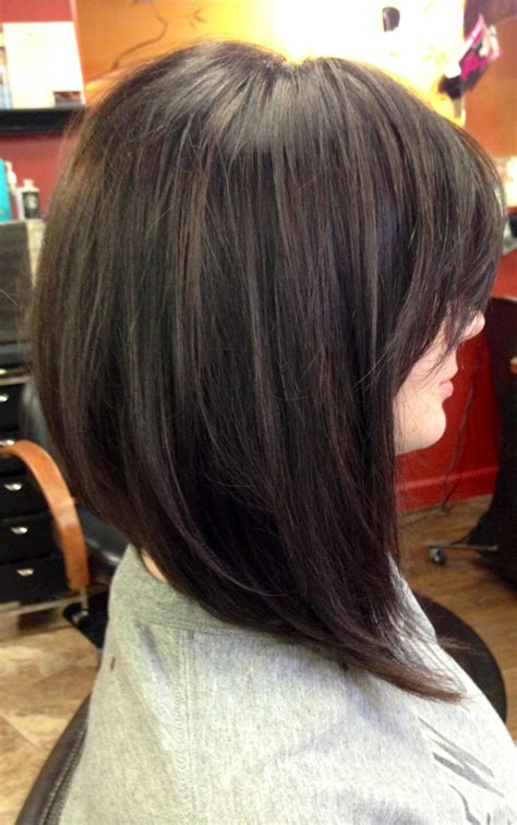 stacked angled bob with long bangs picture of angled stacked short bob with long side bangs