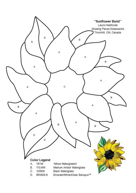 sunflower template stained glass spectrum pattern stained glass