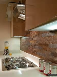 modern kitchen with copper color slate backsplash tile from mosaic designs look