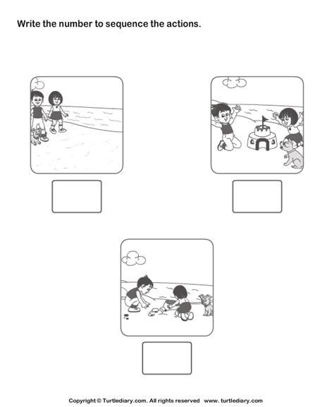 Sequencing Worksheets Kindergarten by Picture Sequence Turtlediary