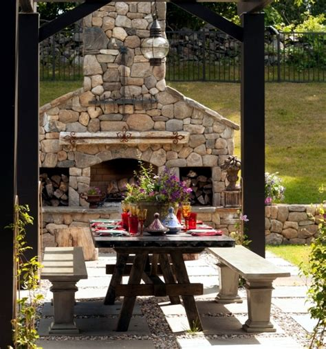 Different Patio Designs Stone Barbecue Fireplace The Highlight In The Garden