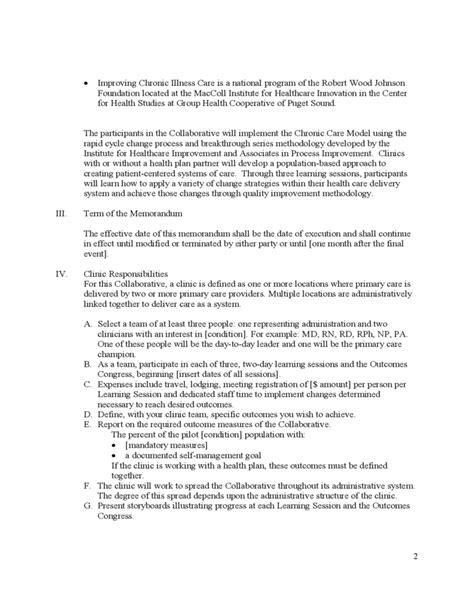 Basic Memorandum Of Understanding Sle Free Download Simple Memorandum Of Agreement Template