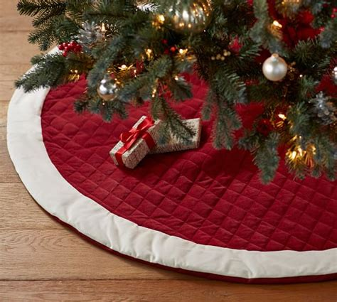 velvet tree skirt red with ivory cuff pottery barn