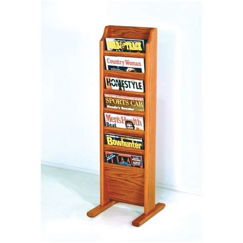 Free Standing Magazine Rack by Wooden Mallet Free Standing 7 Pocket Magazine Rack In Medium Oak Mr7 Fsmo