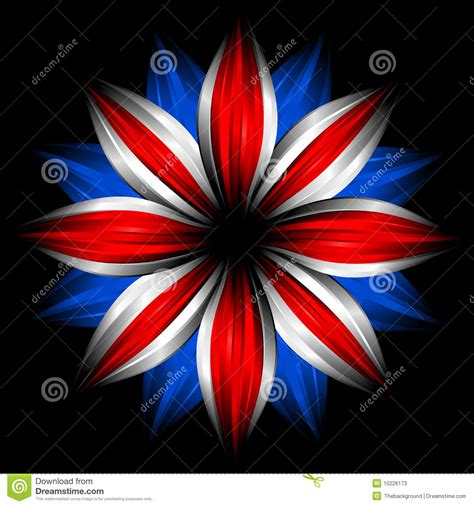 flower with british flag colors on black stock
