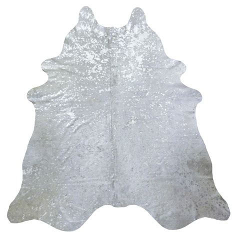 Large Cowhide Silver Metallic On White Cowhide Large