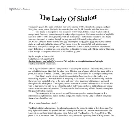 Of Shalott Essay by Tennyson S The Of Shalott A Level Marked By Teachers