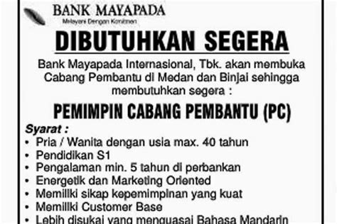 lowongan kerja  bank mayapada medan  binjai liputan medan