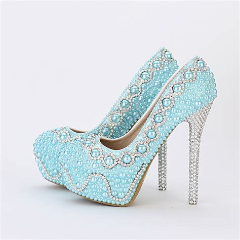 2016 comfortable bridal shoes blue pearl wedding shoes