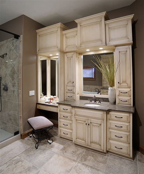 Built In Bathroom Furniture Bathroom Vanity With Built In Cabinets Around Mirrors Haute Home Bathroom