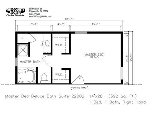 master suite floor plans addition master bedroom prefab home additions tri county homes