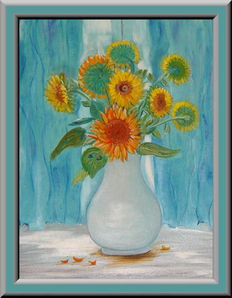 Online Vase Bild Sonnenblumen Gardine Malerei Pflanzen Von Jadwiga