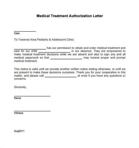 treatment authorization letter for a minor sle treatment authorization letter 9 free