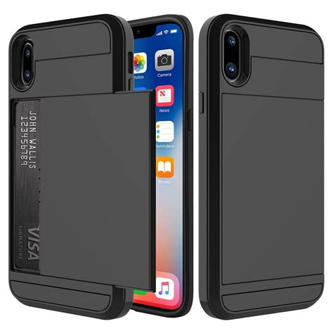 Apple Casing Iphone X I Phone X 8g Carbon Karbon tough armour card holder apple iphone x black
