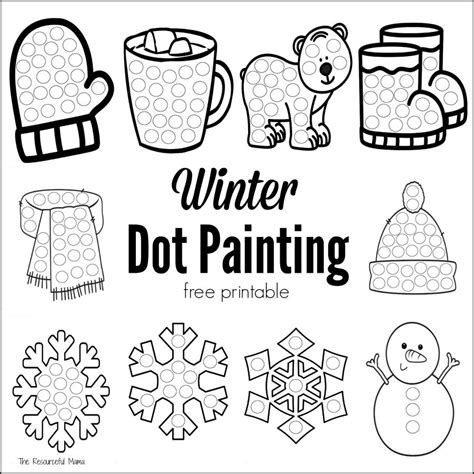 free printable january activity sheets winter dot painting free printable the resourceful mama
