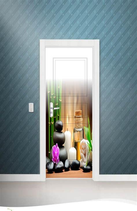 porta spa adesivo parede porta spa estetica relax flores massagem