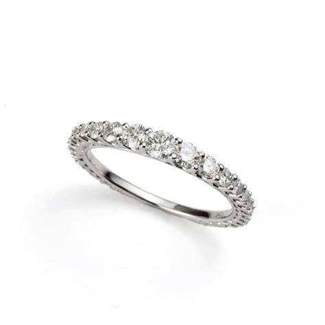 18k white gold graduated eternity ring 0 79ct
