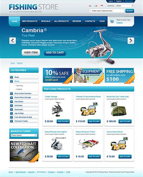 Opencart Bookstore Template fishing store opencart template id 300111359 from