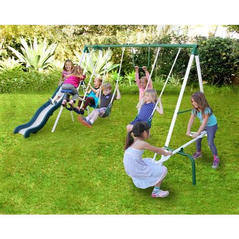 live swing sportspower live oak metal swing and slide set academy