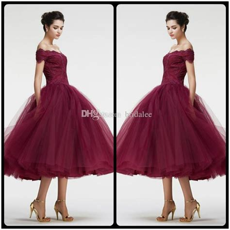 Burgundy Off the Shoulder Ball Gown VIntage Lace Prom Dresses Tea Length Charming Puffy Train