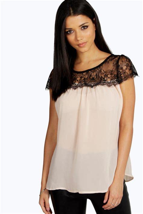 Lace Trim Chiffon Blouse lydia lace trim chiffon blouse