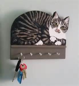 tabby cat key rack holder functional wood by