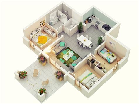 Three Bedroom | 25 more 3 bedroom 3d floor plans architecture design