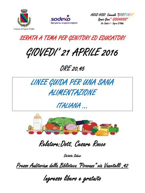 linee guida alimentazione linee guida per una sana alimentazione italiana la pro