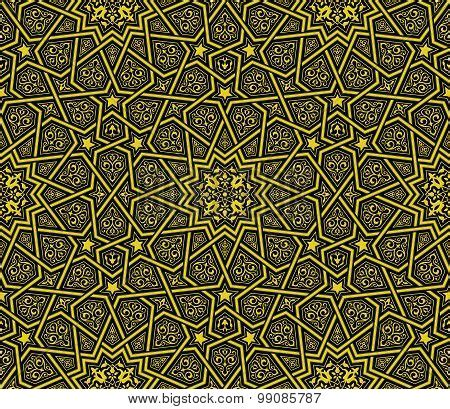 islamic ornament golden black background poster id