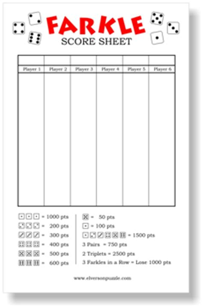 farkle score sheet farkle score card images
