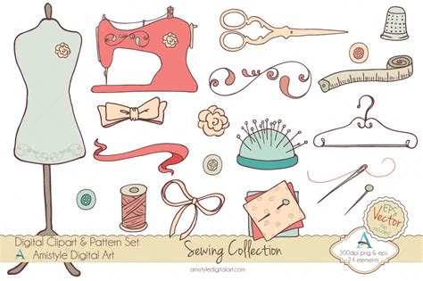 sewing borders design elements vector sewing collection clipart vector illustrations on
