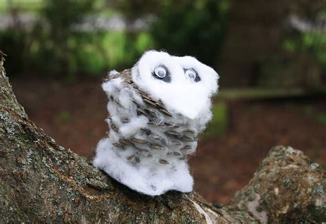 Tippytoe Crafts Pine Cone Snowy Owls - paper crafts for children 187 snowy pine cone owl
