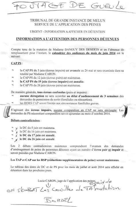Exemple De Lettre De Demande Permission Am 233 Nagements De Peine Foutage De Gueule L Envol 233 E