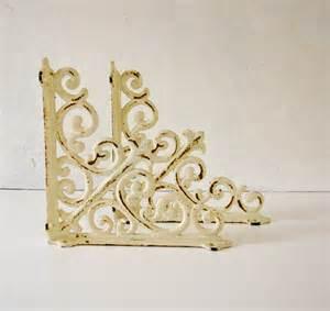 2 vintage white iron shelf brackets shabby chic by beejaykay