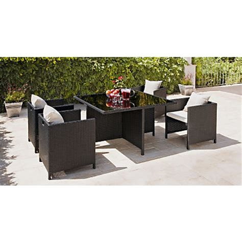 rattan effect 4 seater cube patio furniture set black